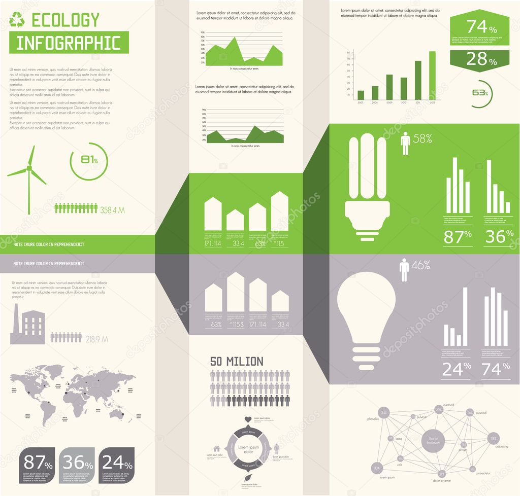 Ecology info graphics collection, charts, symbols, graphic vecto