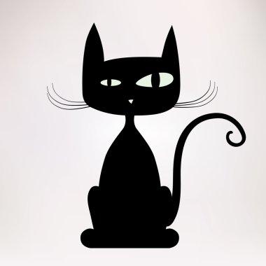 Black silhouette of freaky cat.