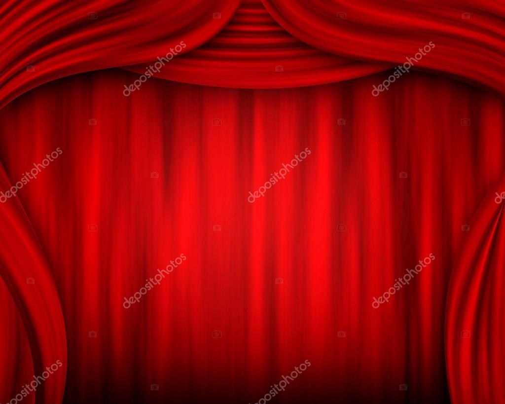 rode gordijnen stockfoto