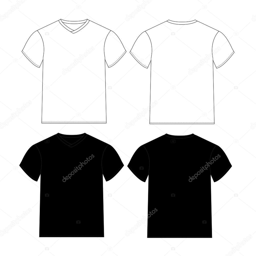 Black t shirt vector photoshop - Blank T Shirts Template With Black And White Color Vector By Mereutaadi
