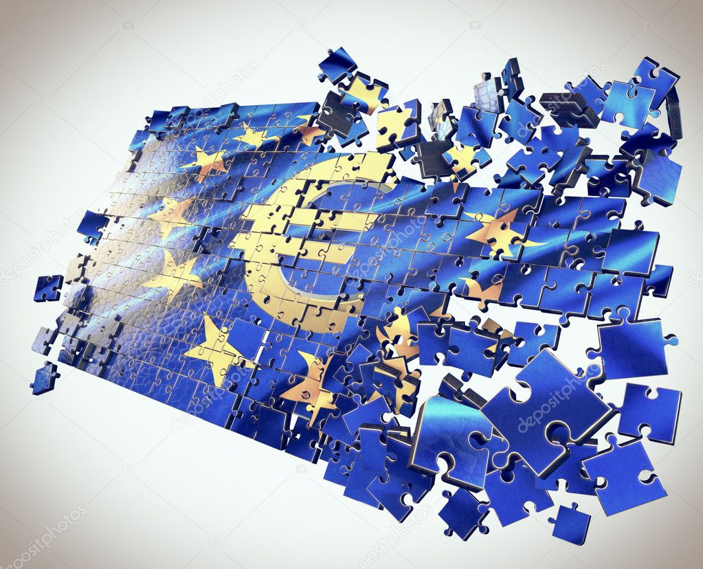 The European Union puzzle with Euro symbol