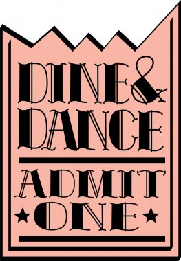 Pink dine and dance admission ticket, on a white background