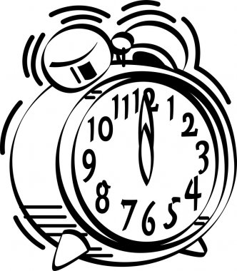Black and white alarm clock ringing at 12 o clock