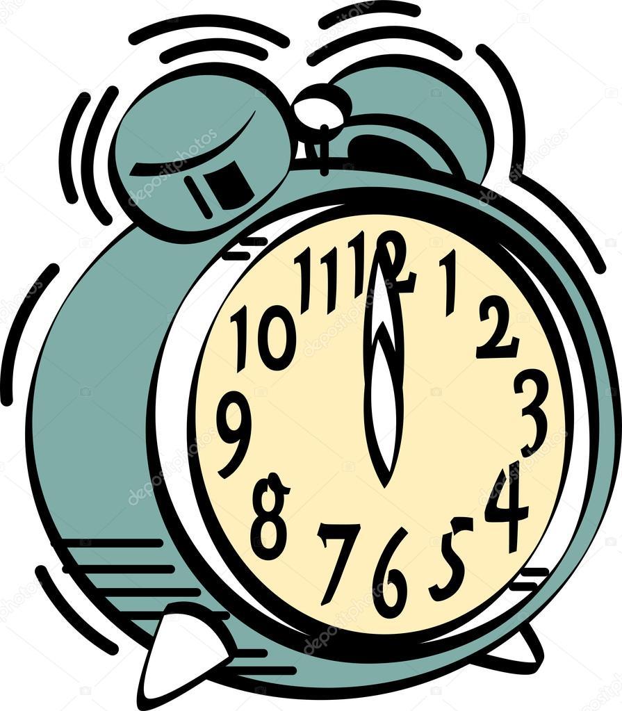 Wecker clipart  Wecker klingelt um Mitternacht oder Mittag — Stockvektor #17236405