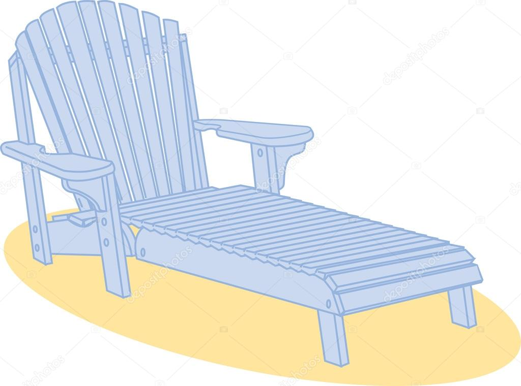 Blue Wooden Beach Lounge Chair On Sand U2014 Stock Vector