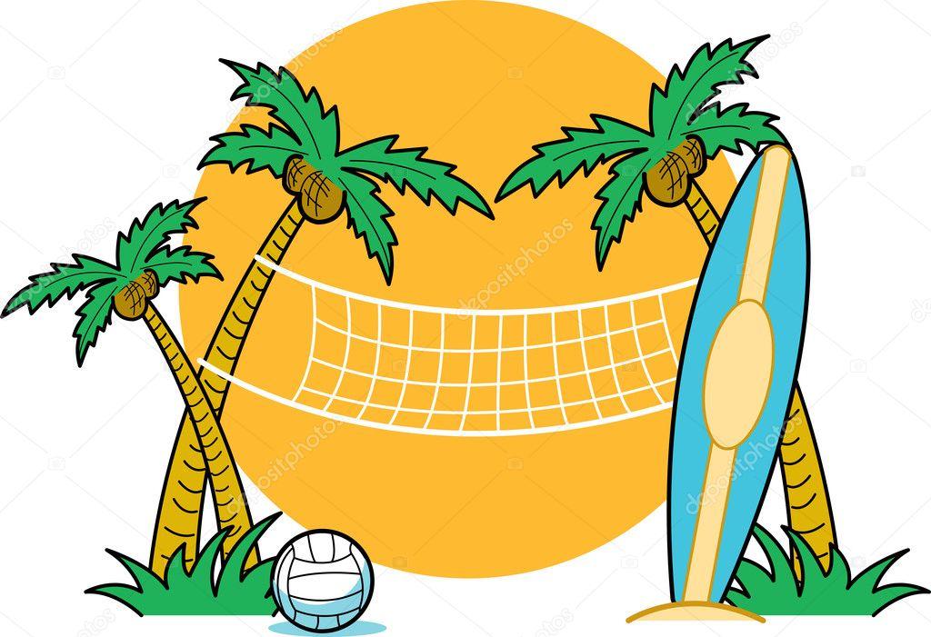 surfboard leaning against a palm tree near a beach volleyball net rh depositphotos com