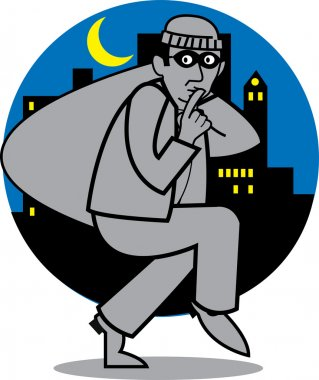 Quiet burglar carrying a sack of stolen goods