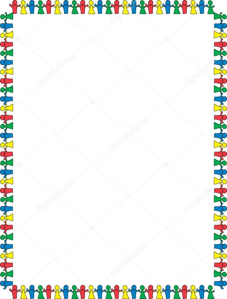 stationery border of colorful paper dolls holding hands and