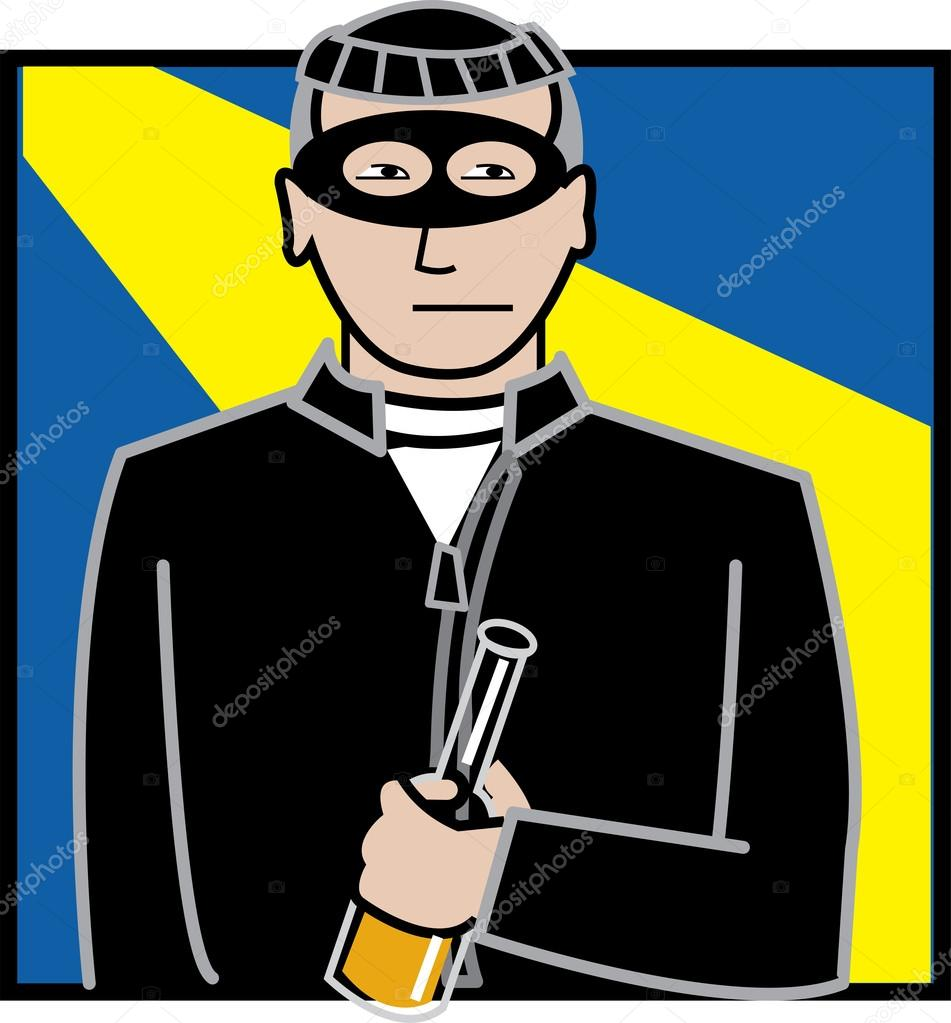 Male robber dressed in black, wearing a mask and holding a bottle stock vector