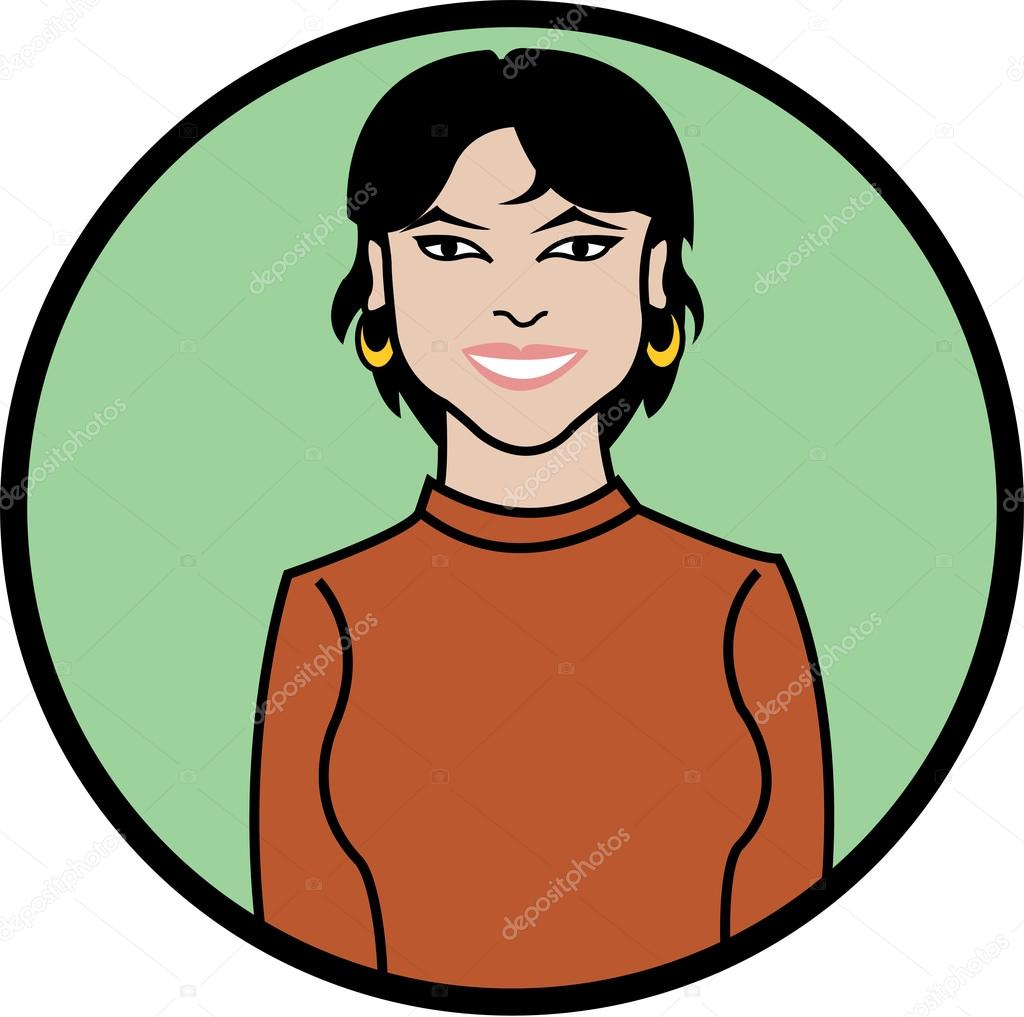 Beautiful Business Woman With Hoop Earrings Stock Vector