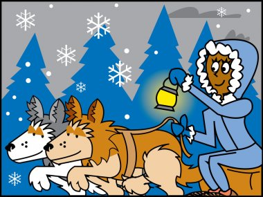 Cartoon sled dogs