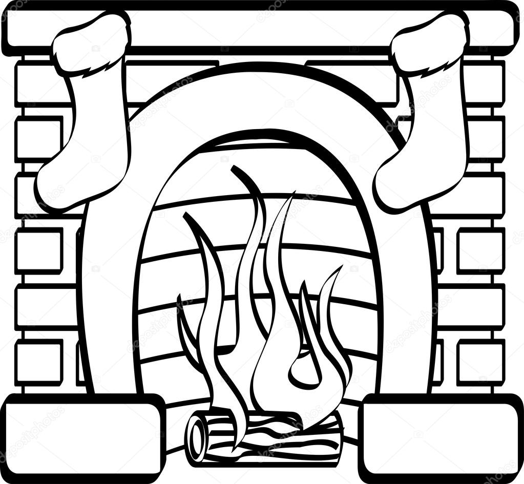 fireplace with christmas stockings u2014 stock vector clipartguy