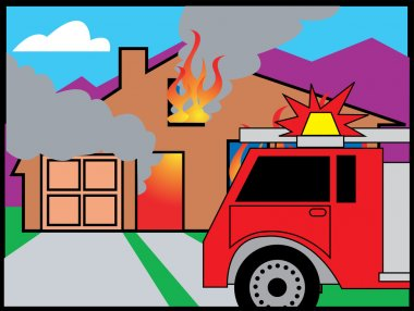 Fire Truck In Front Of A Burning House stock vector