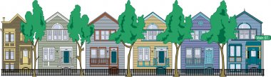 Row Of Perfect Victorian Houses