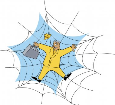 Businessman In A Yellow Suit Stuck In A Spider Web