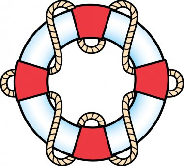 Red And White Life Preserver Ring With A Rope