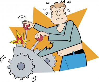 Nervous Man Operating A Machine