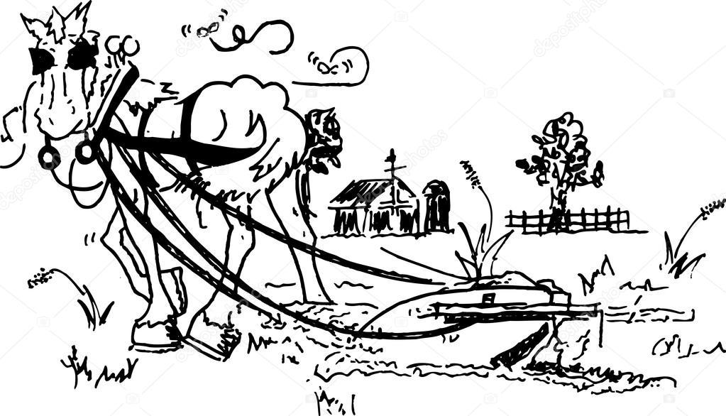 blanco y negro dibujo de un caballo tirando de un arado en un ...