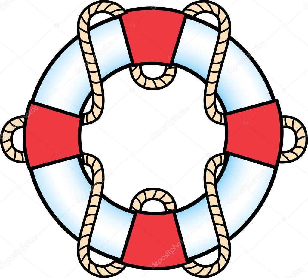 Aro Salvavidas Blanco Y Rojo Con Una Cuerda Vector De