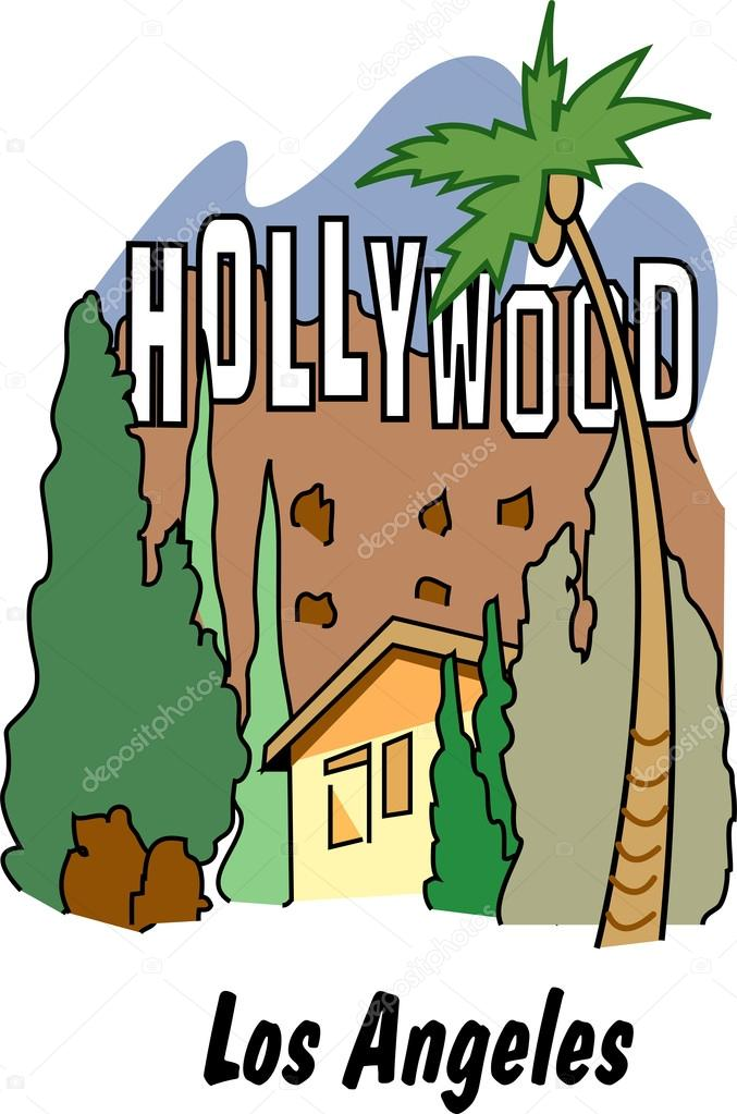 Hollywood Sign In Los Angeles Stock Vector