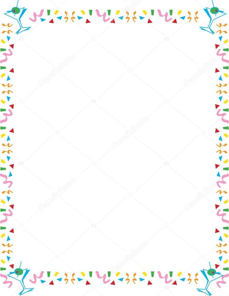 stationery border of confetti and martini glasses stock vector