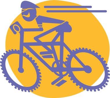 Blue Cyclist On A Mountain Bike