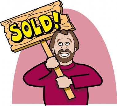 Happy Man In A Red Sweater Holding A Wooden Sold Sign