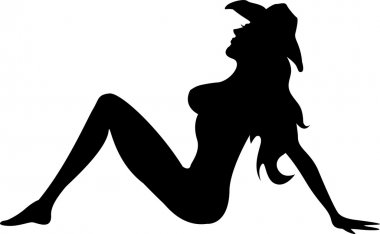 Black Silhouetted Nude Cowgirl