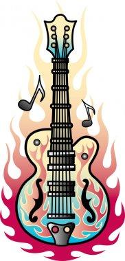 Flame Guitar Tattoo Design