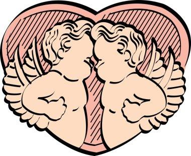 Two Victorian Cherubs Standing Face To Face Over A Peach Heart clip art vector