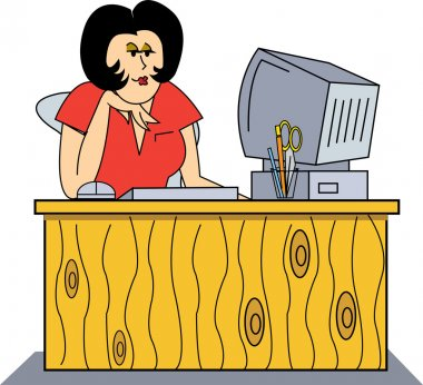 Woman Seated In Front Of A Computer