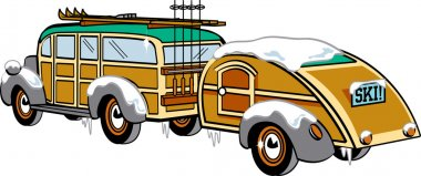 Woody Sedan With Skis And A Trailer