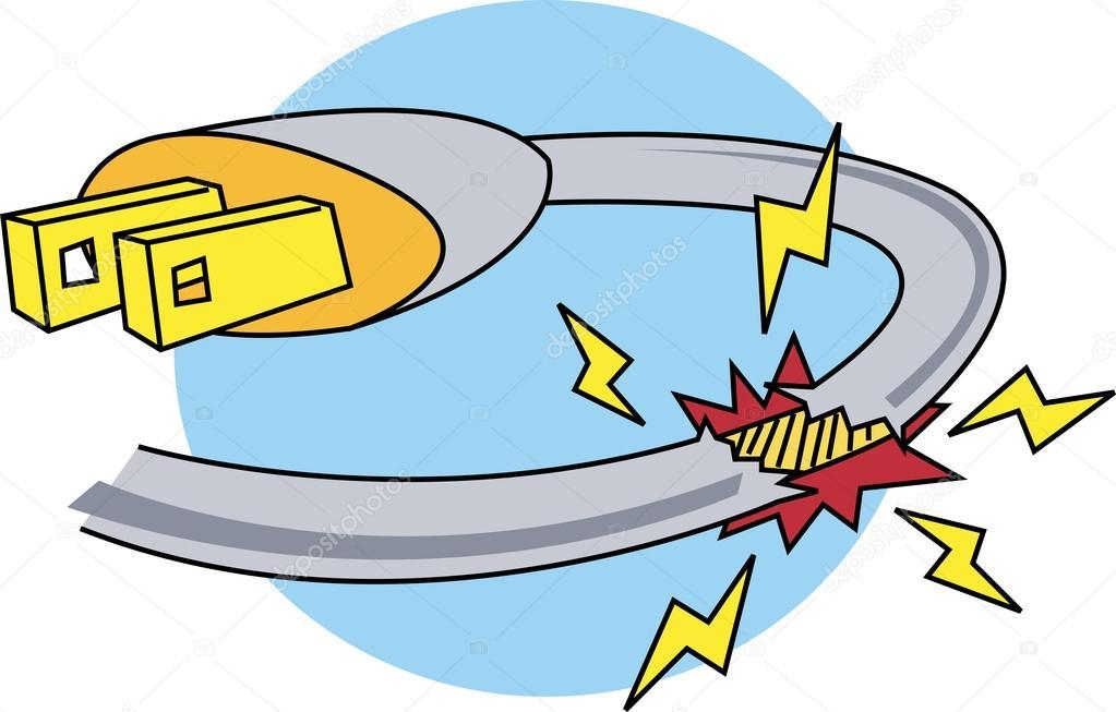 Cartoon Power Cord : Dangerous broken plugin cord to an electrical device