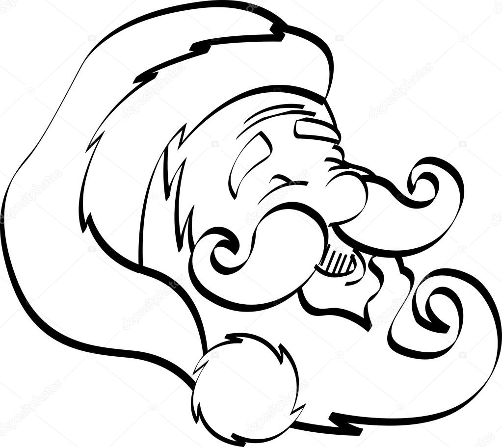 coloring page outline of santas happy face with a hat beard and mustache vector by clipartguy