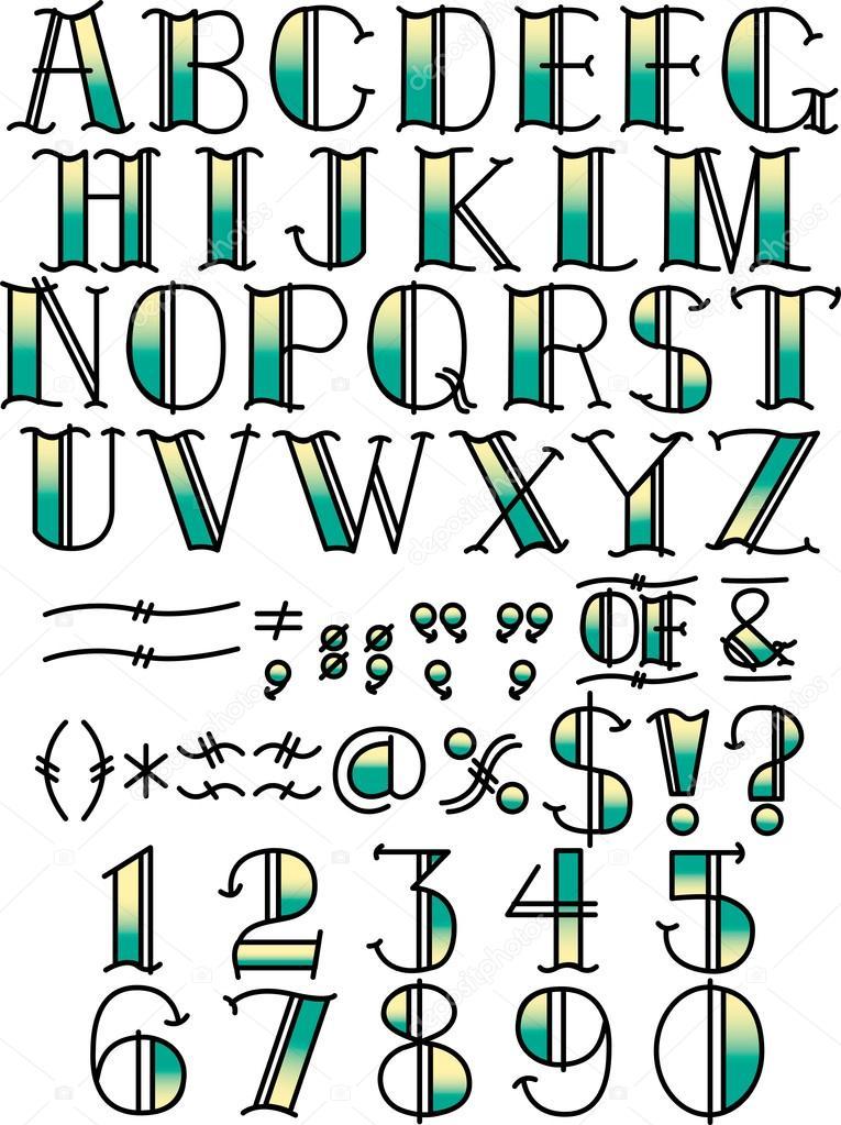 Tatuaż Alfabet I Symbole Grafika Wektorowa Clipartguy