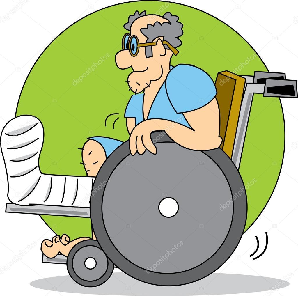 Uomo Anziano Con Un Cast Sulla Gamba Di Una Sedia A