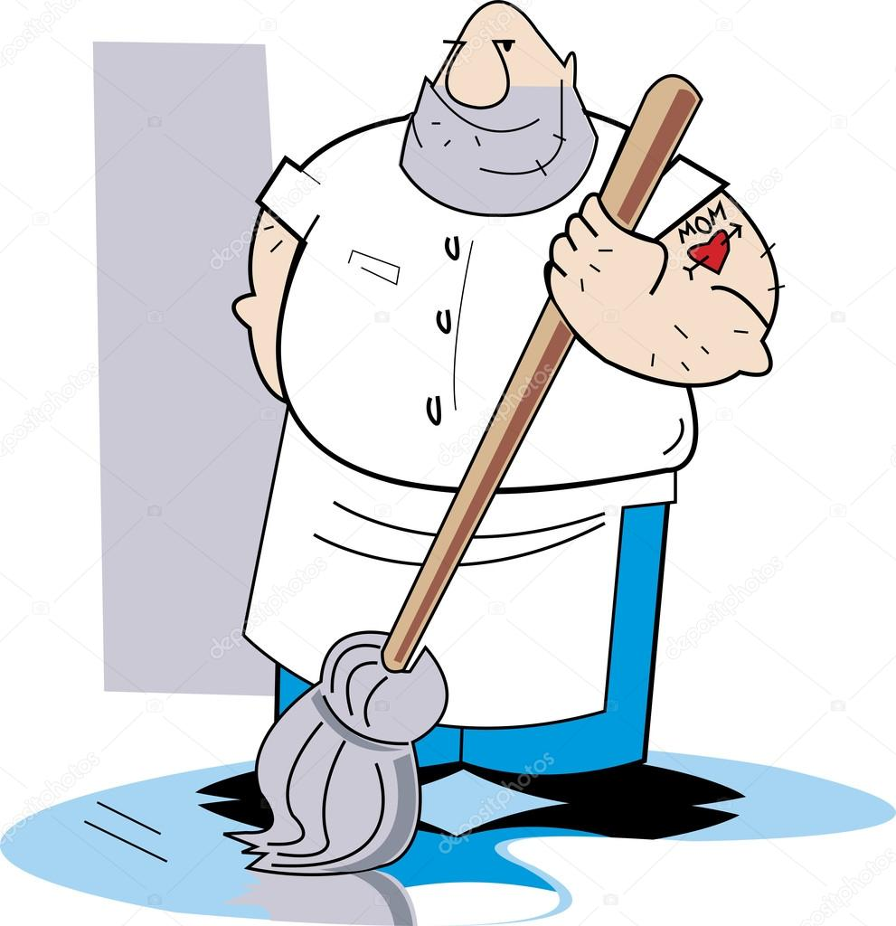 big hairy man mopping a dirty floor — stock vector © clipartguy