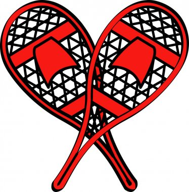 Pair of Red Snowshoes Crossed