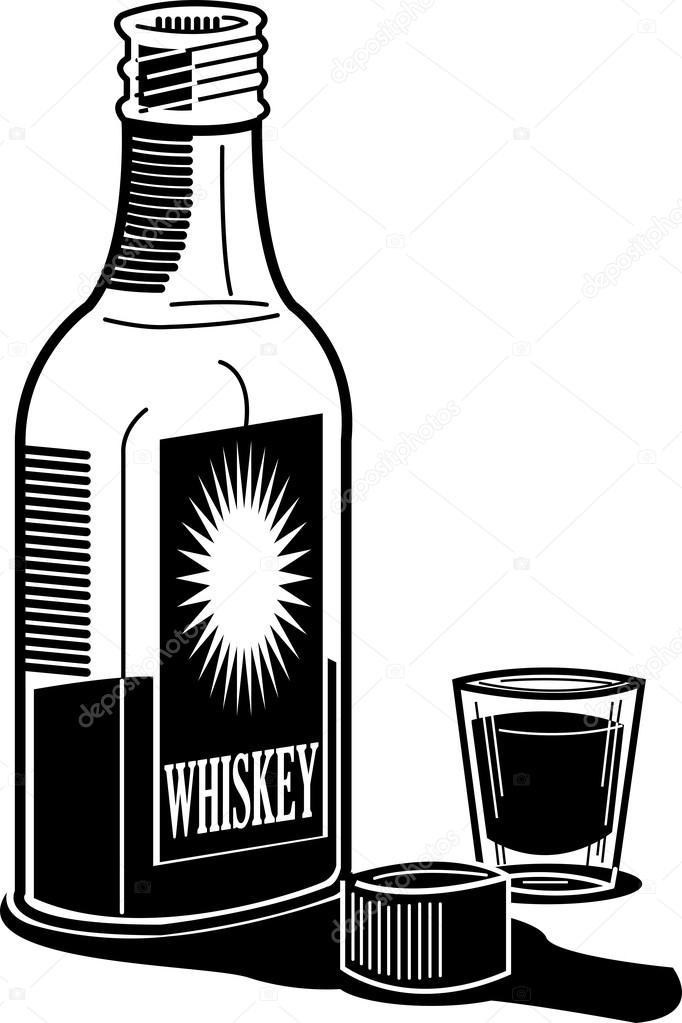 Whiskey Bottle And Shot Stock Vector C Clipartguy 17683747