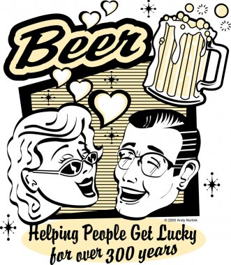 Pretty woman and handsom man with beer