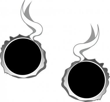 Two hot bullet holes through metal, smoking