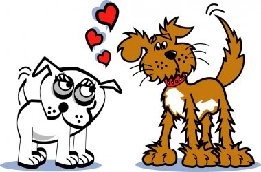 Two infatuated dogs staring at eachother and wagging their tails stock vector
