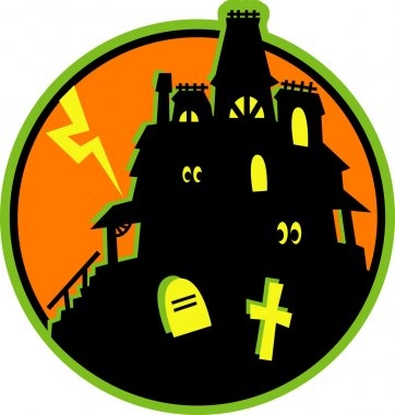 Glowing eyes peeking out from windows in a silhouetted haunted house against an orange sky with lightning and graves in the foreground stock vector