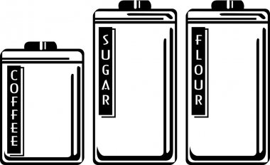 Three storage canisters in a kitchen, holding coffee, sugar and flour