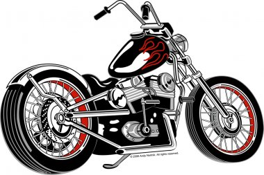 Black motorcycle with red flame paint accents