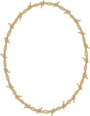 Oval border frame of barbed wire