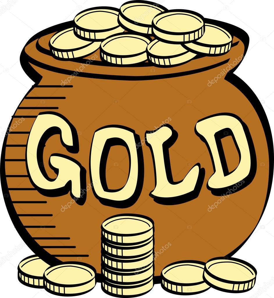 pila de monedas cerca de una olla de oro de los duendes — Archivo ...
