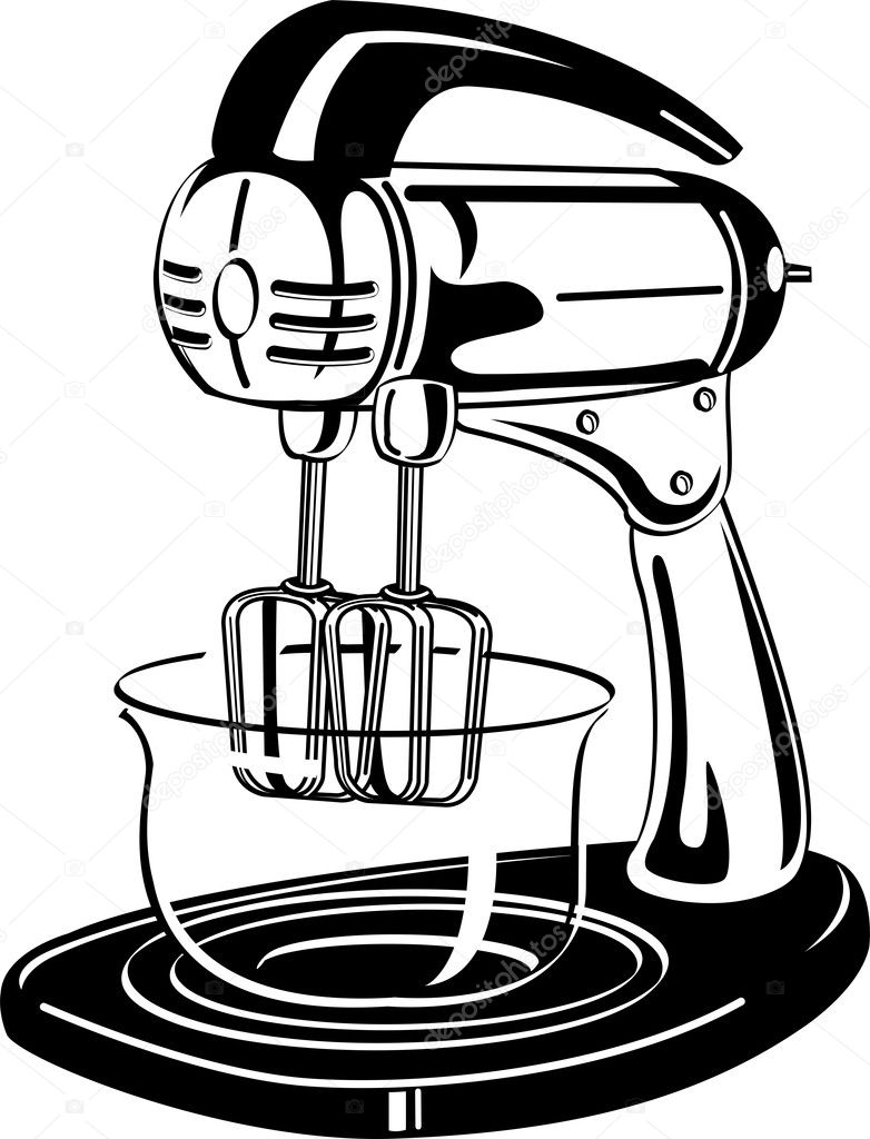 White clipart picture of an electric mixer in a kitchen — Stock ...