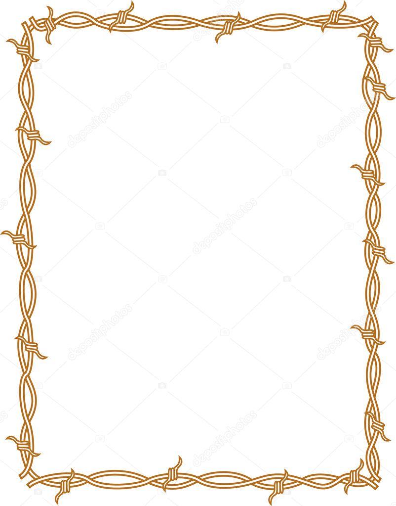 marco de frontera rectángulo de alambre de púas — Vector de stock ...