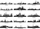 vektorové siluety městská panoramata